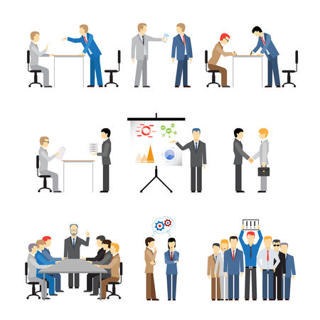 exclamatory: Business peoples in different poses for teamwork, meetings and conference. Vector eps10 illustration