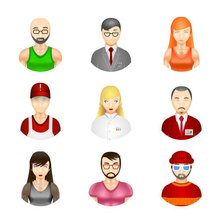 cross section: Set of nine different vector people avatars depicting a diverse community of professionals  workmen  male  female  hipster  elderly balding  beard and moustache as a cross section of society Illustration