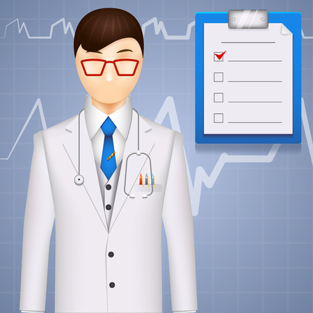 medical report: Illustration of a medical doctor or cardiologist on a cardiogram background showing a pulse or heartbeat with a checklist on a clipboard with a red check mark
