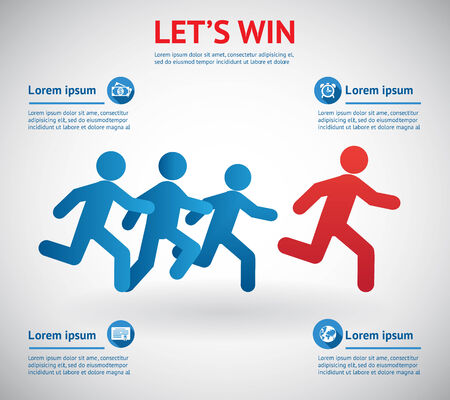 concurrence: Lets win. People running for leader.