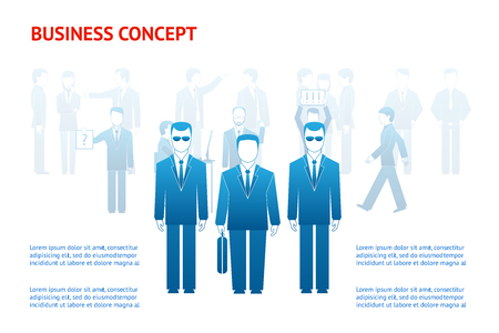 Vector business peoples concept with copy space. Businessman and bodyguards Vector
