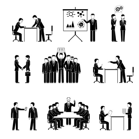 Silhouettes of business people. Negotiations, seminars and teamwork Vector