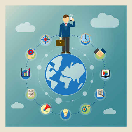 clouding: World business concept. Businessman standing on globe and talking on phone Illustration