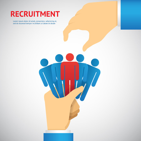 recruiting: human resource and recruitment concept: hand select one persons of stack Illustration