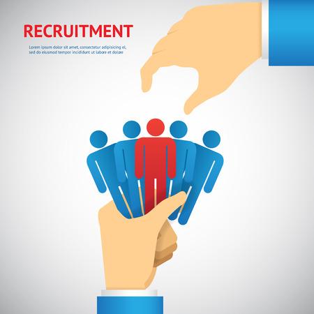 Personalrekrutierung und-Konzept: Hand wählen Sie eine der Personen-Stack