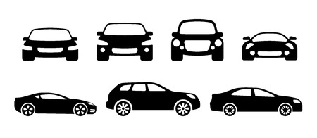 vector car silhouettes: sports car, SUV and ordinary car