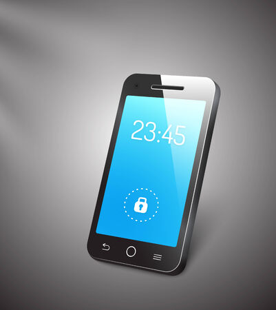 locked icon: 3d vector mobile phone or smartphone with a blue screen showing the time and a locked symbol with a reflective surface standing upright angled on a grey background
