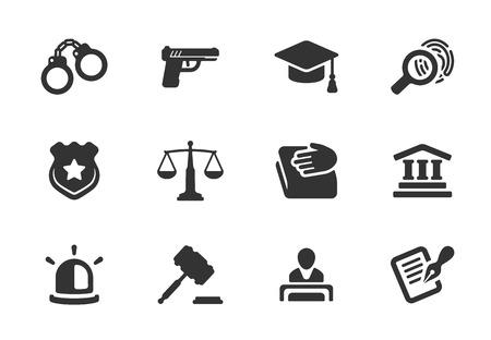Set van zwarte en witte silhouet van Justitie en Politie pictogrammen met een badge handboeien rechtbank rechter hamer advocaat pistool baret hoed wetboek schalen licht of sirene en een onderzoek