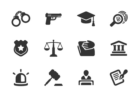 Set of black and white silhouette justice and police icons with a badge  handcuffs  court  judge  gavel  lawyer  gun  mortarboard hat  law book  scales  light or siren  and an investigation Illustration