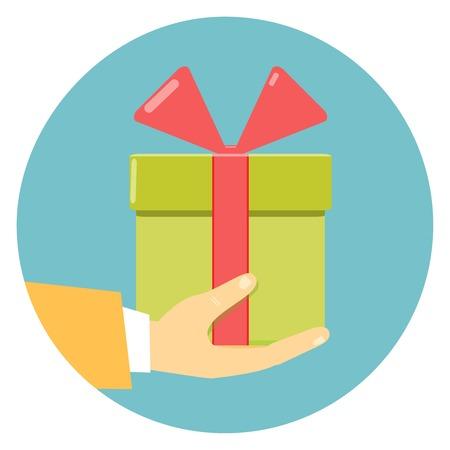 altruismo: Aislado icono redondo y plano de una mano sosteniendo una caja de regalo verde adornado con un lazo rojo en azul