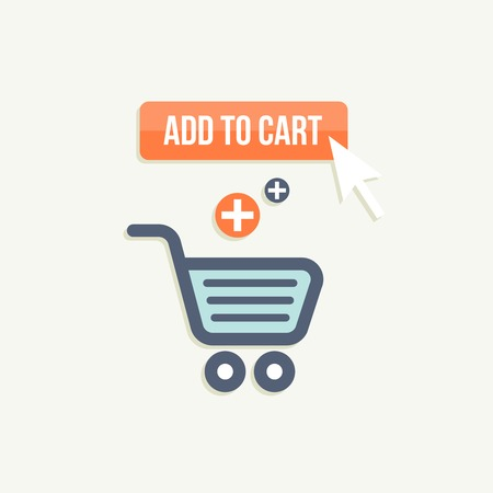 Add to cart concept. Button purchase and shopping cart Vector