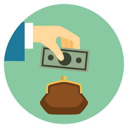 Save Money Flat Style Icon.  Hand puts bill in wallet. Vector eps10 illustration