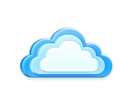 cloud vector: realistic 3d vector blue cloud isolated on white background