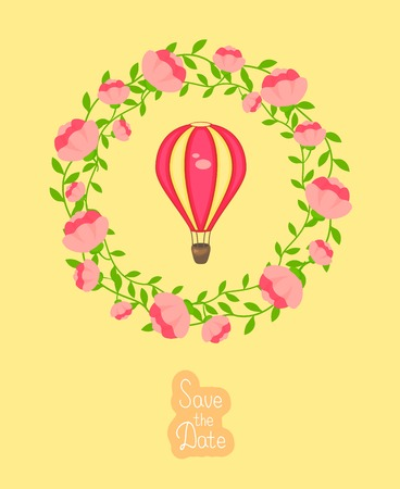 entwined: Vector wedding invitation with wreath of roses and hot air balloon Illustration