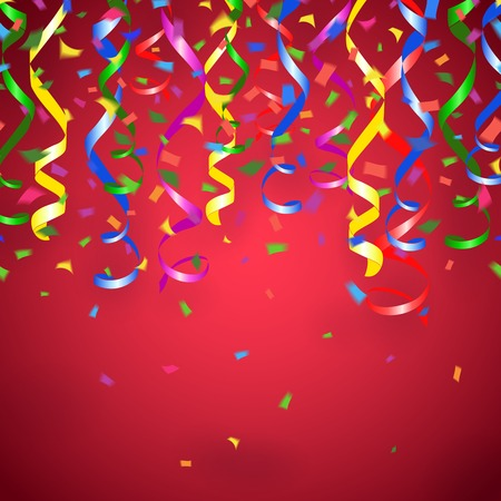 party streamers: Vector party streamers and confetti red background Illustration
