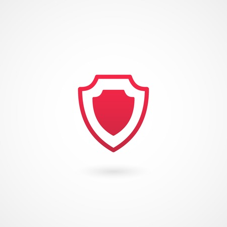 vector red shield or protection icon on white background
