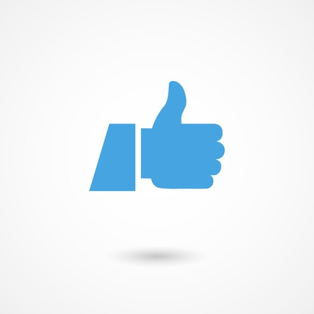 sign ok: vector blue thumb up icon with shadow