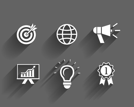 vector business and leadership icons with long shadows Vector