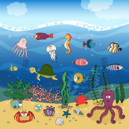 Underwater ocean life hand-drawn illustration under the waves with corals and algae or seaweed on golden sand and swimming fish a turtle seahorse octopus jellyfish lobster shells and a crab