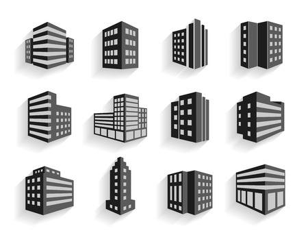 high rise buildings: Set of dimensional buildings icons in grey and white with shadow depicting high-rise commercial buildings  office blocks and residential apartments