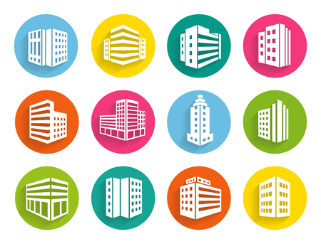 multistorey: Set of twelve different buildings icons on colorful circular web buttons depicting apartment and office blocks and high-rise commercial buildings