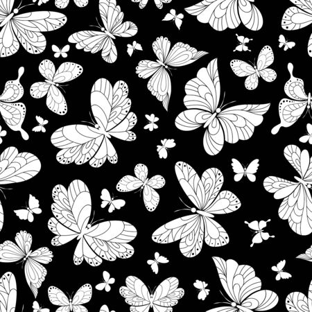 outspread: Seamless background pattern of beautiful butterflies in an ornate vintage style calligraphic design in white on a black background in square format suitable for wallpaper and fabric