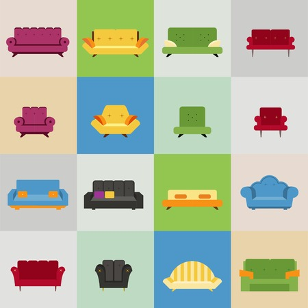 sofa and armchair icons, vector eps10 illustration