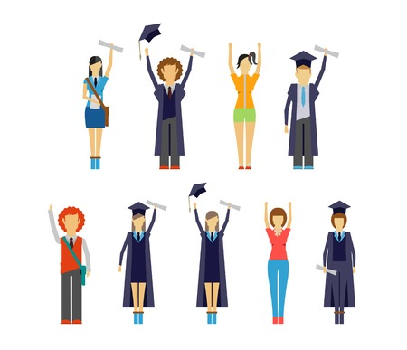 college girl: Set of vector illustrations of diverse cheering students and graduates receiving their certificates and diplomas