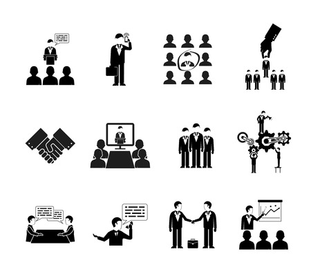 staff training: vector business peoples silhouettes, teamwork and meetings icons