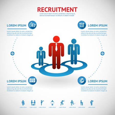 recruiting: vector recruitment and human resource infographics template with space for text