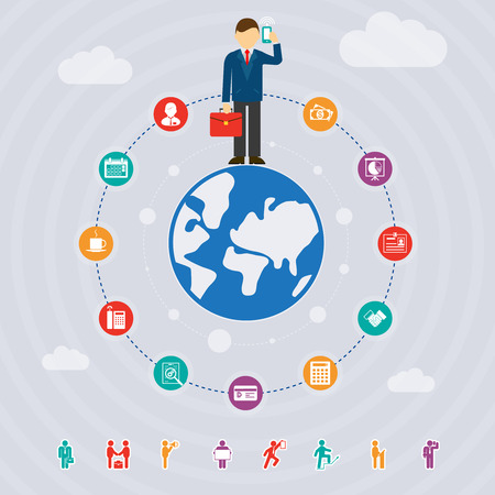 business around the world, vector template concept with icons Illustration