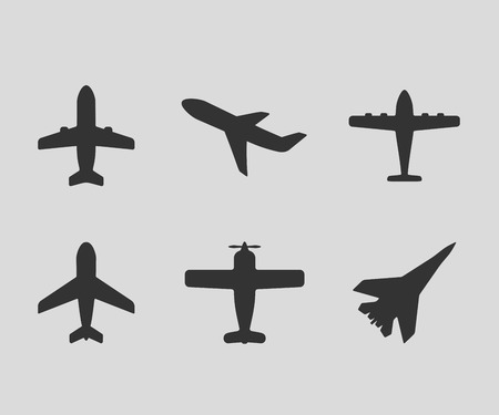 airplane: Vector airplane icons. Passenger plane, fighter plane and screw