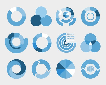 sectioned:   blue and white circle diagram elements