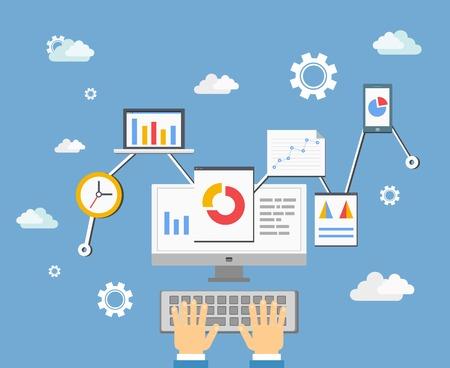 ソフトウェアのアプリ開発者や統計情報のアナリスト技術コンセプト