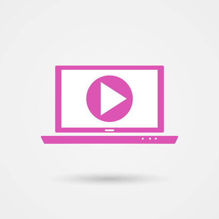 pink play video on laptop icon with shadow Vector