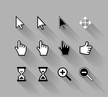 mouse cursor: vector cursors with long shadows, white on gray background Illustration
