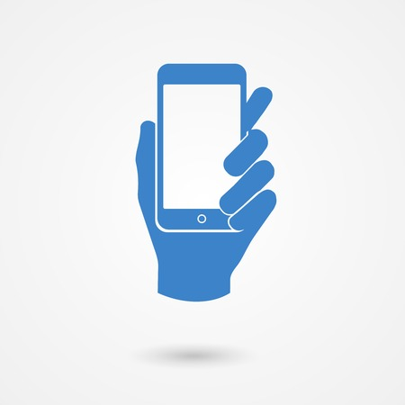 holding smart phone: Stylized blue icon with shadow of a left hand holding a smart mobile phone with white blank touch screen  on light grey background