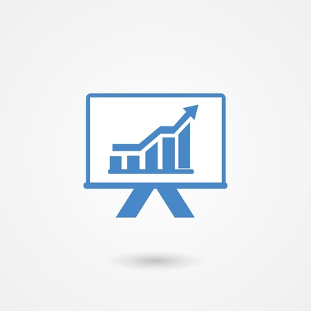 augmentation: Presentation icon with an ascending bar graph and arrow showing improved performance and increasing profits  blue and white vector silhouette