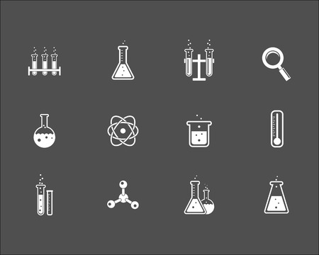 Set of white science and research icons on a grey background depicting laboratory glassware  flasks test tubes   magnifying glass  atom  crystal   thermometer and retort stand  vector illustration Illustration