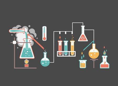 Infographie de laboratoire médical représentant une ébullition de la solution chimique sur un bec Bunsen distillation dans un ballon relié à la verrerie et des tests biochimiques et de la recherche vecteur illustration colorée Vecteurs