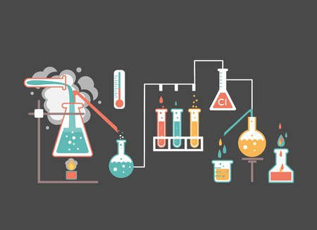 Medical laboratory infographics depicting a chemical solution boiling over a bunsen burner distilling into a flask linked to glassware and biochemical tests and research  colorful vector illustration Illustration
