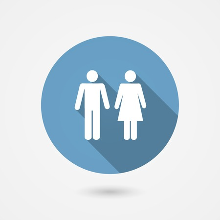 mixed family: Male and female WC icon denoting toilet and restroom facilities for both men and women with white male and female silhouetted figures in a blue circle  vector illustration