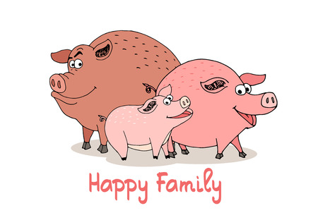 grouped: Happy Family of fun cartoon pigs with a boar  sow and baby piglet with beaming smiles standing grouped together  vector illustration