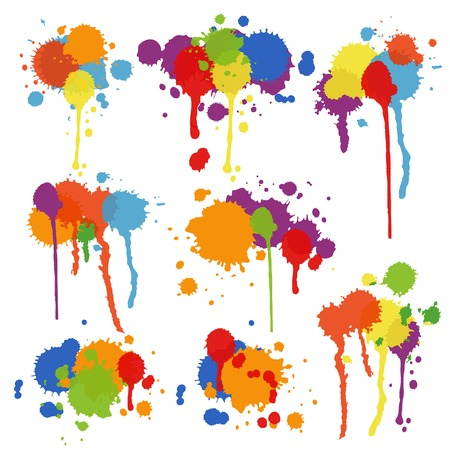 pigment: Set of nine different shapes of multicolored stains and blots in brightly colored ink  paint or pigment with drips and runs in an artistic display  vector illustration Illustration