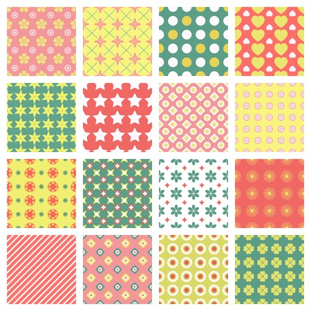 hues: bright and fashionable seamless patterns vector set Illustration
