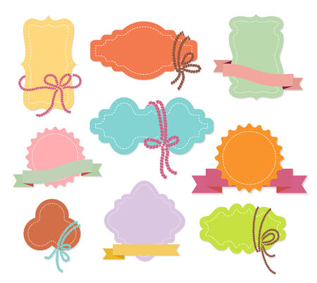 Set of colorful ornamental labels or tags with ribbons in nine different shapes with copyspace for your greeting or text  vector illustration isolated on white Vector
