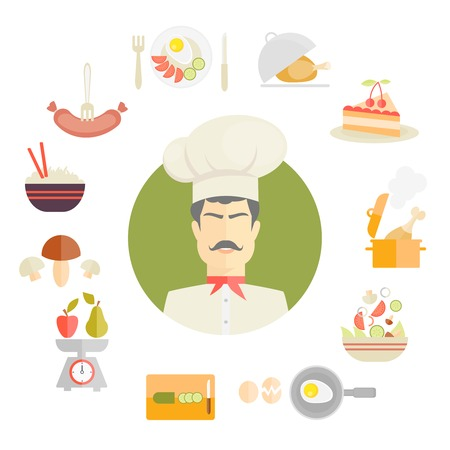 Cooking and food icons in fat style centred around a chef in a traditional toque with a sausage  breakfast  roast  cake  casserole  stew  salad  egg  cucumber  scale  pear  apple  mushroom and rice Vector