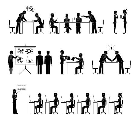 negotiations: Conjunto de personas de negocios siluetas en las reuniones con una fila de personas sentadas en escritorios escuchando una conferencia de intercambio de ideas negociaciones handshake de conferencias y debates ilustraci�n vectorial