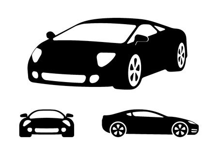 car side view: Vector luxury car silhouettes, frontal  angled and side view  black and white vector illustration