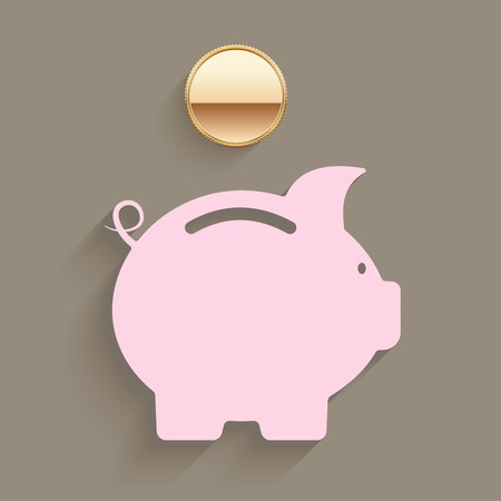 slot in: Pink piggy bank with a gold coin suspended above the slot in a savings and investment planning concept  vector illustration
